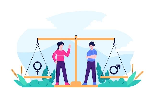 Conceito ilustrado de igualdade de gênero