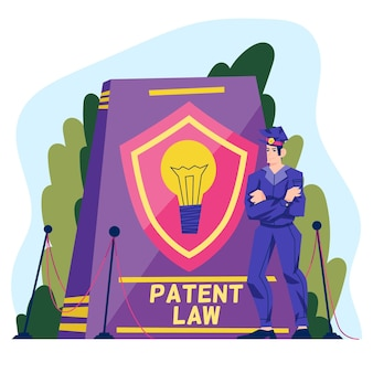 Conceito ilustrado de lei de patentes
