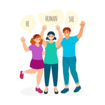 Conceito ilustrado de movimento neutro de gênero