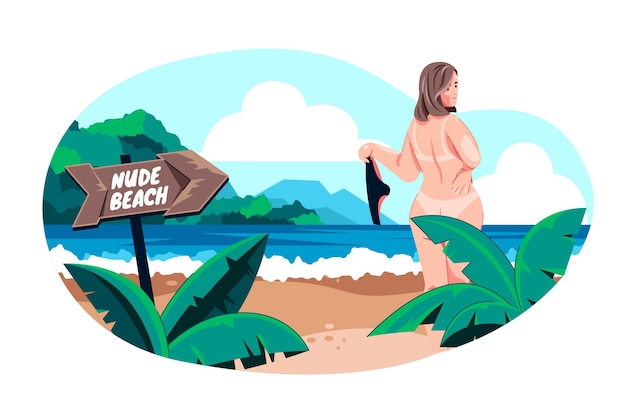 Conceito ilustrado de naturismo plano