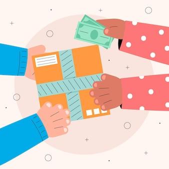 Conceito ilustrado de pagamento na entrega