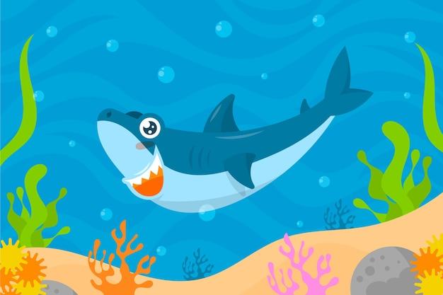 Conceito ilustrado de tubarão bebê