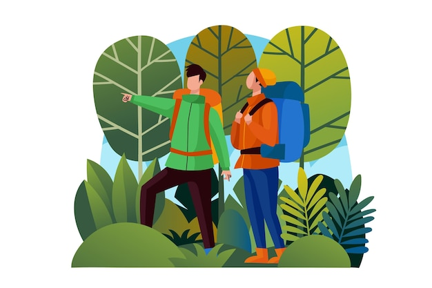 Conceito ilustrado de turismo ecológico