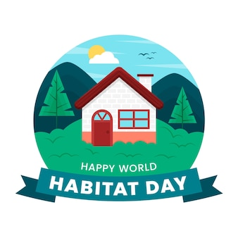 Conceito ilustrado do dia mundial do habitat