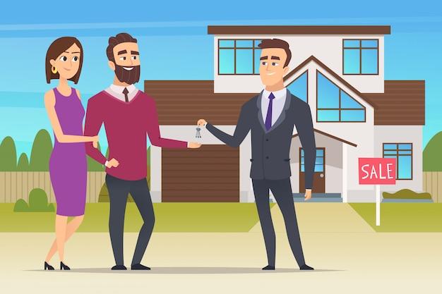 Conceito imobiliário. casal de família comprando casa nova ou gerente de vendas do apartamento grande entrega os caracteres das chaves