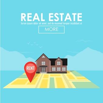 Conceito imobiliário com ilustração vetorial de símbolos de casa para venda e aluguel