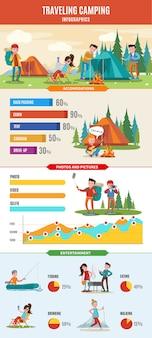 Conceito infográfico de caminhadas e acampamentos