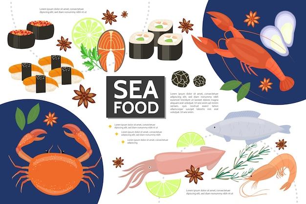 Conceito infográfico de frutos do mar planos