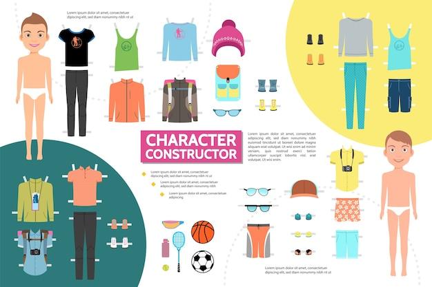 Conceito infográfico de personagem plana masculina com boné de óculos de sol para tênis e roupas esportivas