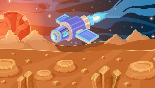 Conceito interessante do vetor de espaço. nave espacial, estrelas, pedras e planeta vermelho.