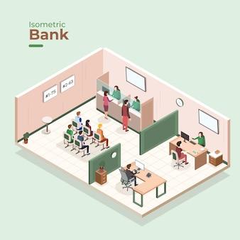 Conceito interior de banco isométrico