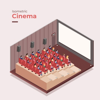 Conceito interior de cinema isométrico