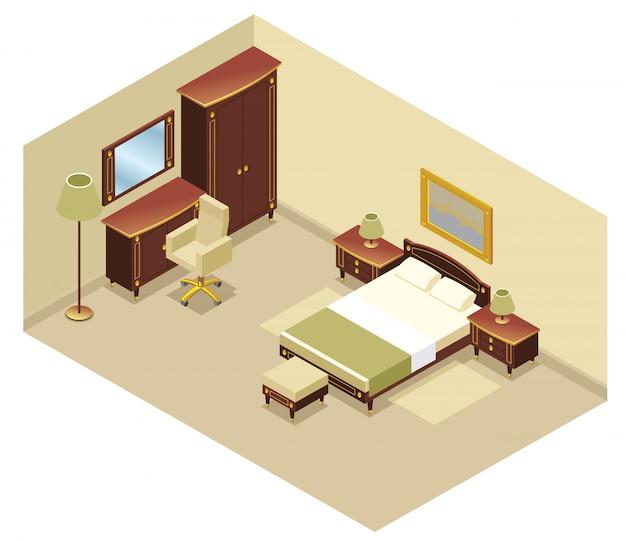 Conceito interior de quarto de hotel isométrico com cama mesa de cabeceira espelho cadeira cadeira cômoda lâmpadas tapete