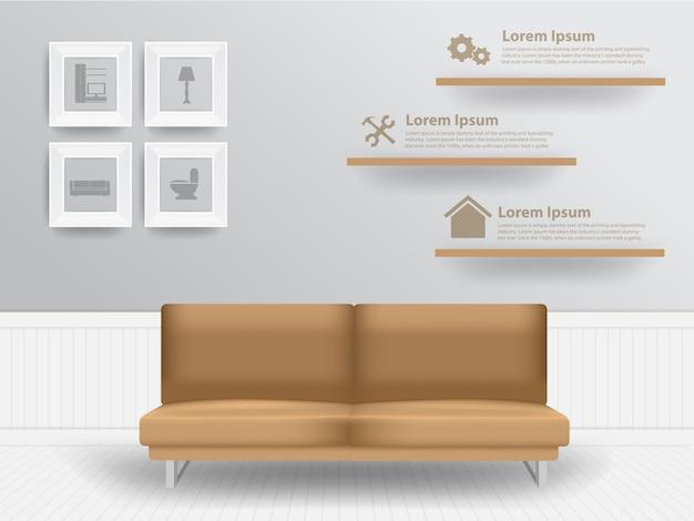 Conceito interior de sala de estar