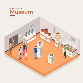 Conceito interior do museu isométrico