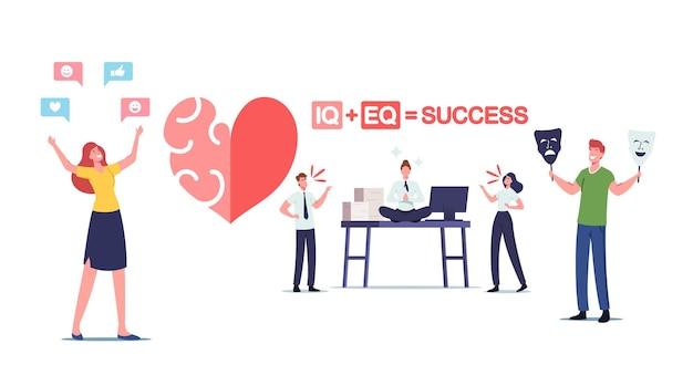 Conceito iq e eq. personagens masculinos ou femininos mostram empatia, conceito de inteligência emocional. habilidades de comunicação, raciocínio e persuasão, as pessoas se comunicam entre si. ilustração em vetor de desenho animado