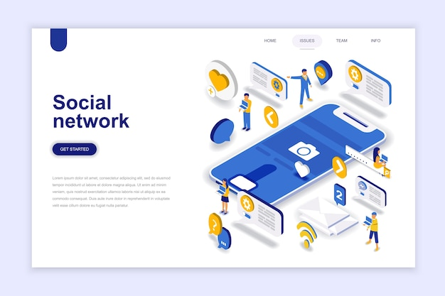 Conceito isométrica de design plano moderno de rede social.