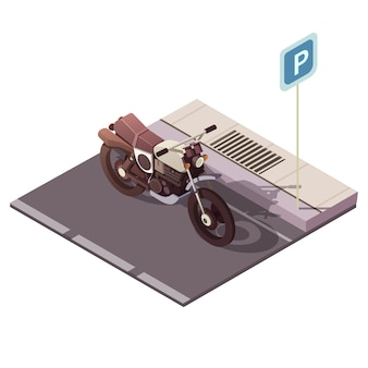 Conceito isométrica de moto estacionamento com ilustração em vetor cidade tráfego símbolos
