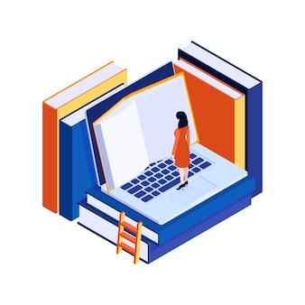 Conceito isométrico com caráter de mulher lendo livros eletrônicos no laptop