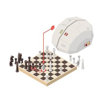 Conceito isométrico com cérebro artificial jogando xadrez 3d