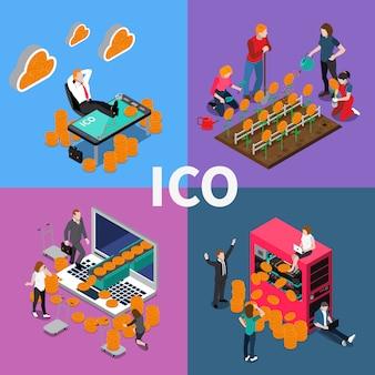 Conceito isométrico da blockchain ico