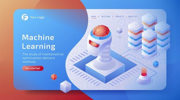 Conceito isométrico da conexão de dados da inteligência artificial (ai) 3d com cérebro digital. rede de tecnologia futura.