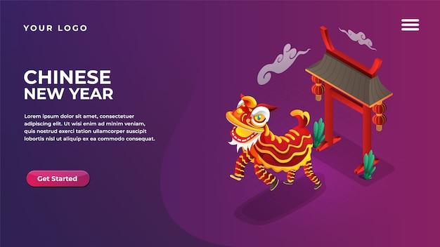 Conceito isométrico da dança do leão do ano novo chinês para página de destino de aplicativos móveis e sites