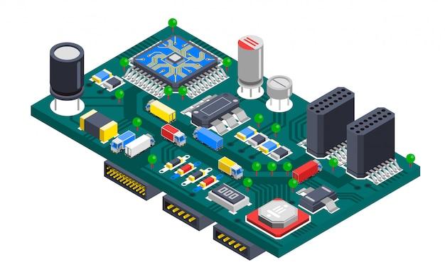 Conceito isométrico da placa de circuito