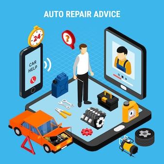 Conceito isométrico de aconselhamento de reparação automóvel com ilustração vetorial de diagnóstico