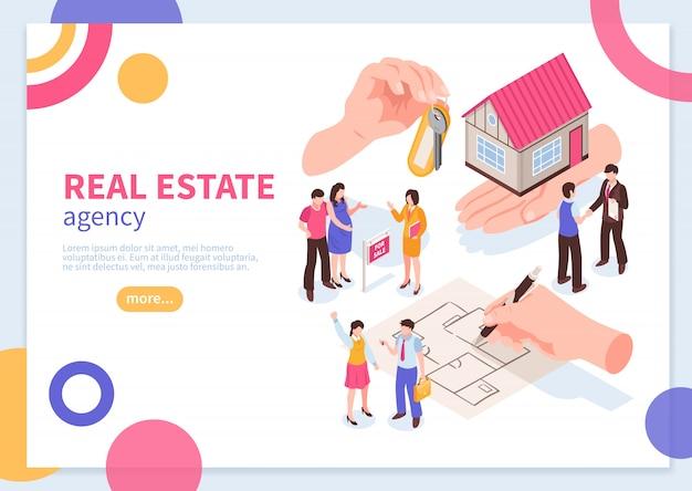 Conceito isométrico de agência imobiliária de modelo de banner da web com ilustração vetorial de elementos geométricos coloridos