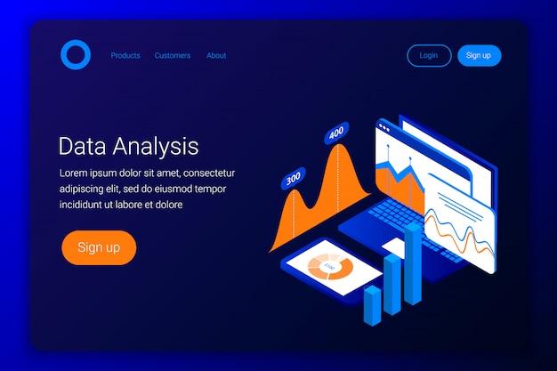 Conceito isométrico de análise de dados. gráficos e gráficos na tela do laptop e smartphone. estilo 3d plano. modelo de página de destino. ilustração.