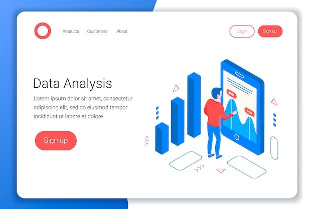Conceito isométrico de análise de dados. o analista analisa as tabelas e gráficos. estilo 3d plano. modelo de página de destino. ilustração.