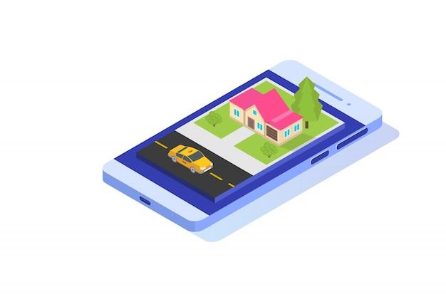 Conceito isométrico de aplicativo de táxi móvel on-line. ponto de rota gps e táxi amarelo.
