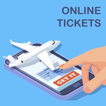 Conceito isométrico de aplicativo móvel de bilhetes de avião on-line