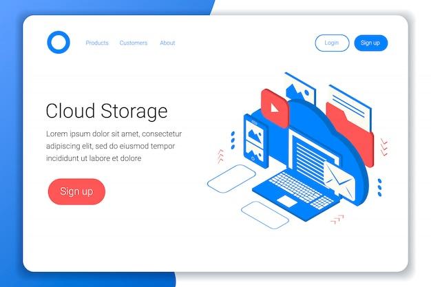 Conceito isométrico de armazenamento em nuvem. backup de arquivos de laptop, smartphone, foto, e-mail, vídeo e outros. estilo 3d plano. modelo de página de destino. ilustração.
