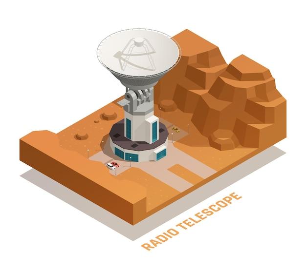 Conceito isométrico de astronomia com radiotelescópio profissional 3d de tamanho grande no telhado do edifício