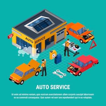 Conceito isométrico de auto serviço com ilustração em vetor ferramentas diagnóstico e equipamento