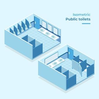 Conceito isométrico de banheiros públicos