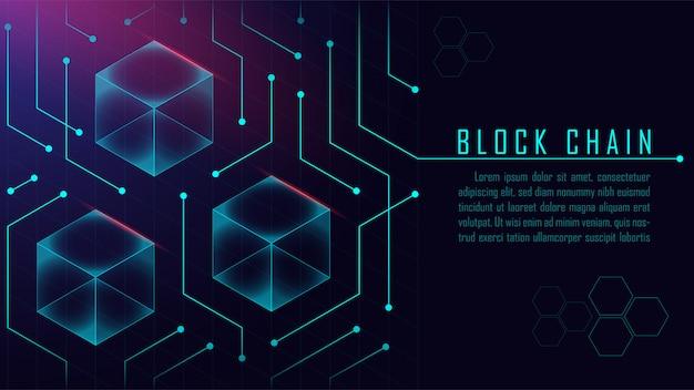 Conceito isométrico de blockchain abstrata