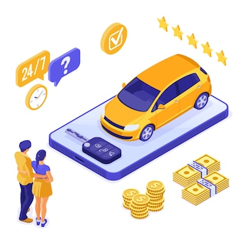 Conceito isométrico de carro de compartilhamento de aluguel de seguro de venda online para pouso