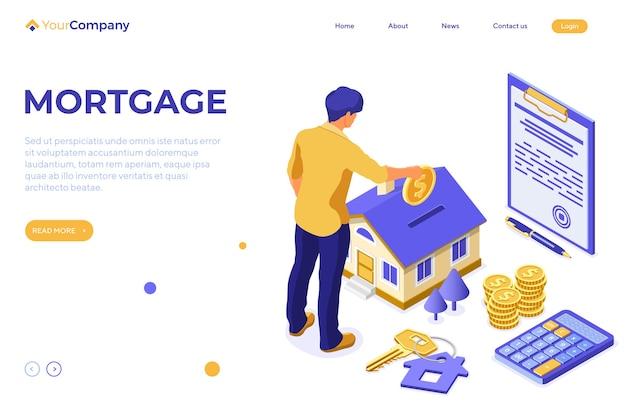 Conceito isométrico de casa hipotecária com casa e homem investe dinheiro em imóveis
