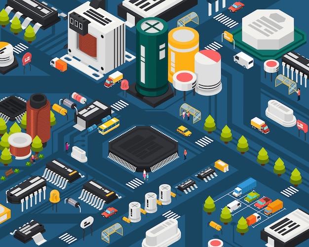 Conceito isométrico de cidade de componentes eletrônicos de semicondutores coloridos com diferentes elementos combinados na cidade