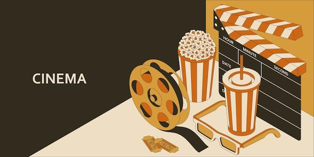 Conceito isométrico de cinema com pipoca, bebida, claquete, copos e película de filme