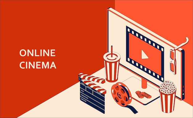 Conceito isométrico de cinema online com monitor de computador, pipoca, bebida, claquete, óculos