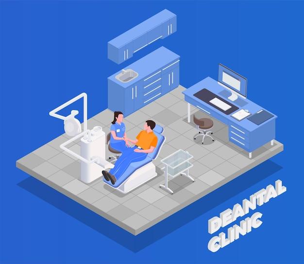 Conceito isométrico de clínica dentária com símbolos de equipamento e tratamento