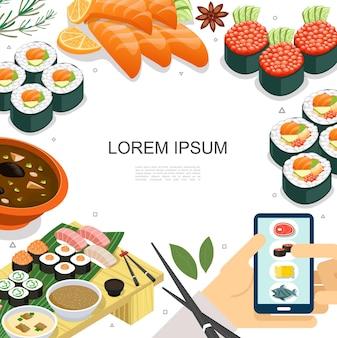 Conceito isométrico de comida japonesa colorida com sushi sashimi rolos de sopa, pauzinhos e ilustração de pedido de comida móvel