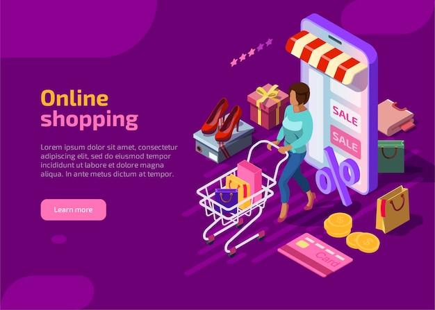 Conceito isométrico de compras online em fundo violeta