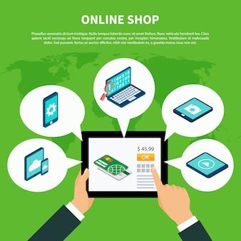 Conceito isométrico de compras online