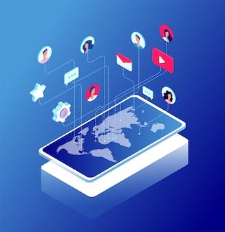 Conceito isométrico de comunicação de bate-papo e internet