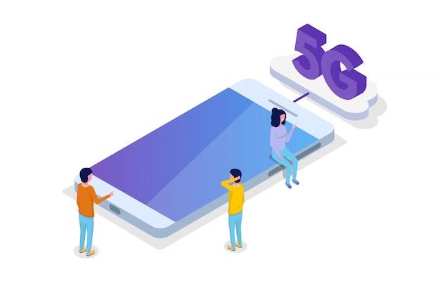 Conceito isométrico de conexão 5g. tecnologia de telecomunicações. ilustração vetorial